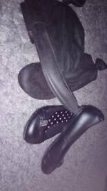 Size 1 girls shoes and black boots