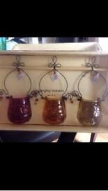 Glass hanging lanterns x 3 BRAND NEW NEVER BEEN USED