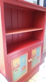 Large, hand painted, wooden storage unit
