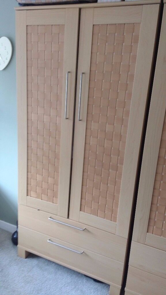 Good Quality Weave effect bedroom furniture - wardrobes, bedside table, tall boy, drawers