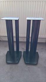 pair of speaker stands, black, metal