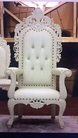2 x NEW Tabriz Throne Chair (150cm) Ivory White Asian Wedding Queen French Ornate Luxury Antique