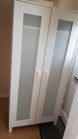 Two White Ikea Wardrobes