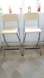 2 Breakfast Stools with backrest