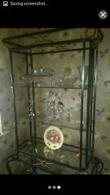 Wrought iron and glass display unit