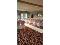 White chair covers for hire £1.25 each this includes a organza sash bow