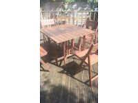 Wooden Garden Table and 4 chairs with cushions