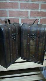 A pair of Vintage wine cases