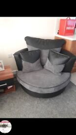 3 and 2 seater with swirl chair