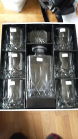 Royal Doulton Decanter and 6 glasses, unused
