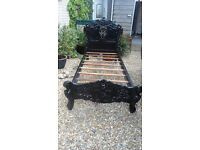 """Single Rococo French Style Bed - 3'6"""" - slats and bars - new"""