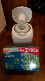 tommee tippee sangenic nappy disposal bin eith three cassettes