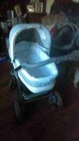 Grey/silver shimmer 3 in one pram 1 Year old very good condition