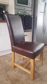4x Brown Leather Dining Chairs - Oak Furniture Land
