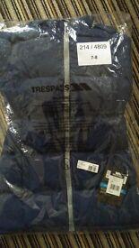 Girls full length Navy Trespass Waterproof coat age 7 to 8 BNWT