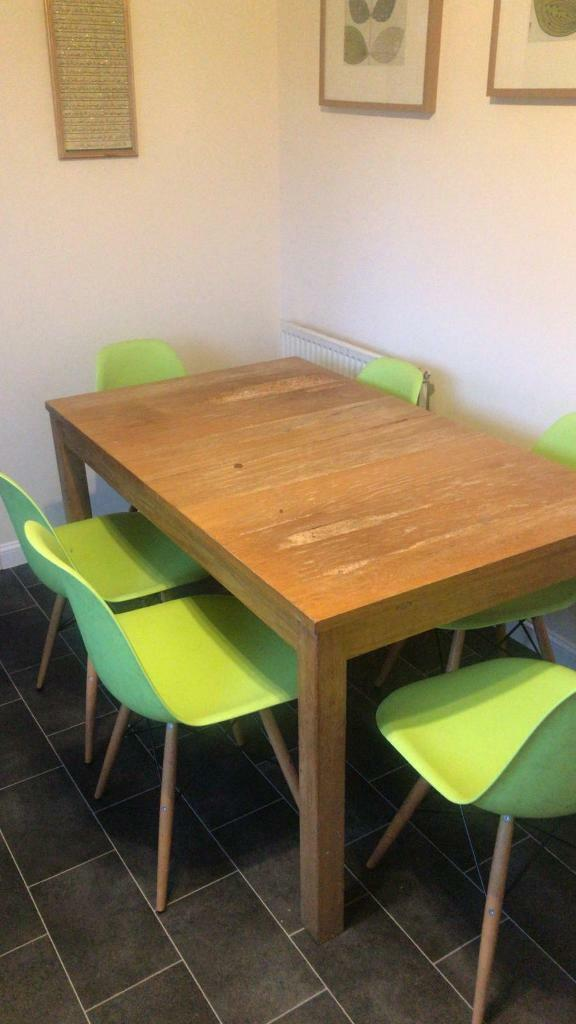 Lime Green 6 Dining Chairs Plus Table