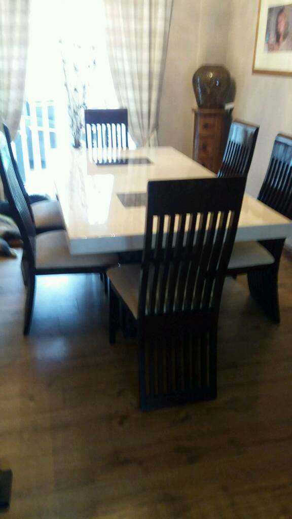 DFS Strasbourg marble dining table with 6 chairs | in Kirkby-in ...