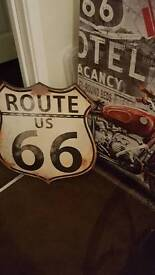 route 66 canvas and shield