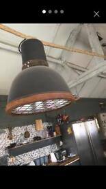 Large industrial light shade with bulb