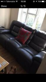 brown leather 3 seater sofa and chair electric recliners x2
