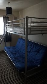 Blue futon bunk bed for sale. Collection only please. Good condition.