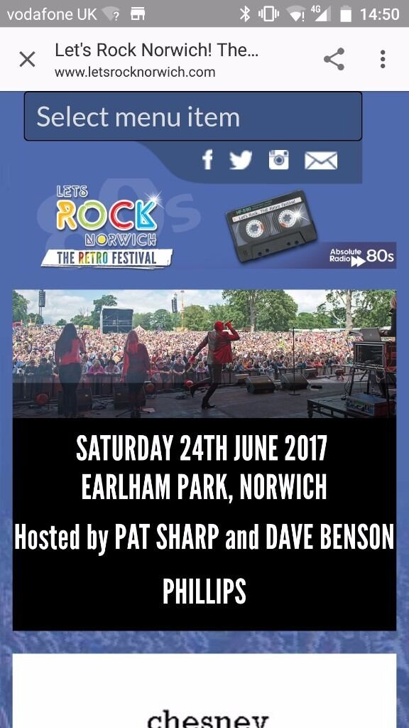 2 tickets to Lets Rock Norwich! 80s All Day Music Eventin Cottenham, CambridgeshireGumtree - 2 tickets to Lets Rock Norwich available for Saturday 24th of June. All day event. Acts include Boney M, Bananarama, Kim Wilde, Belinda Carlisle, Chesney Hawkes, Tony Hadley, Midge Ure, Nik Kershaw, Howard Jones, Jaki Graham and Captain Sensible!...