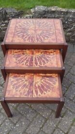 Coffee / Lamp tables Vintage tiled tops. nest of 3 in good condition