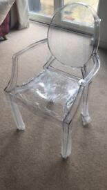 Clear acrylic Louis 'ghost' chairs with arms dining chairs wedding chairs