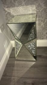 crushed crystal mirrored side unit