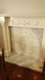 White Wooden Fire Surround With Solid Marble Back & Hearth
