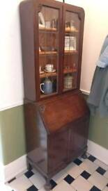 Antique bureau and display cabinet