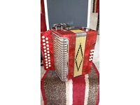 Button Accordion 2-row B/C brand new with case and straps