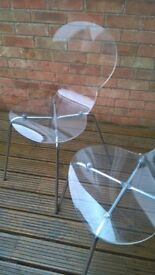 VINTAGE PERSPEX DINING CHAIRS (X2) genuine rubber mounts without cracking