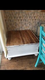 Shabby chic beach wooden chest toy box storage ottoman