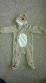 Baby christmas reindeer outfit snowsuit 6 - 9 months.