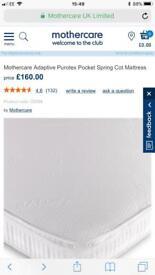 BRAND NEW Mothercare Adaptive Purotex Pocket Spring Cot Mattress
