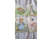 4 large peter rabbit books: mr jeremy fisher, peter rabbit, jemima puddle duck, tom kitten