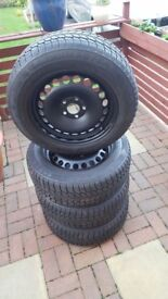4 x WinterTyres&Steel Wheels for Volvo s80/Ford Mondeo 205/60/16 6/7mm Excellent condition