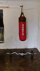 punch bag, bracket, curling bar and 20kg of weight
