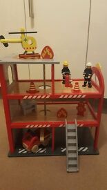 Wooden Fire Station Traditional Set Playset Engine