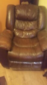 Single Leather brown recliner sofa