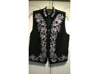 Ladies black silk waistcoat Size small