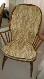 1950's Ercol Elm Windsor Style Stickback Kitchen Armchair