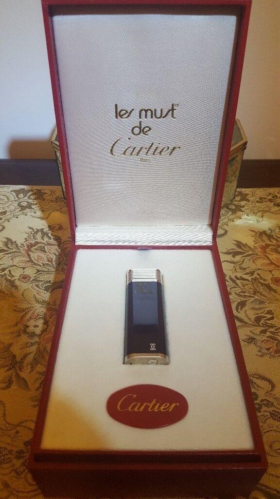 Cartier Lighter Maroon Enamel and Silver