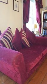 2 red velvet sofas for sale. £300 In excellent condition