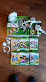 LEAP TV CONSOLE + 2 CONTROLLERS + 6 GAMES UNWANTED XMAS GIFT BARELY USED