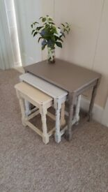 Beautiful nest of 3 Oak tables, Shabby Chic, Hand Painted in Annie Sloan chalk paint