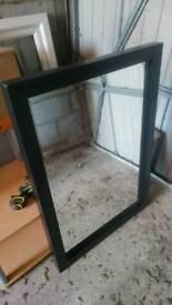 Black solid wood mirror