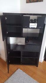 very modern black high gloss living room/bedroom cabinet/shelves