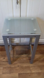 top quality expensive (RRP £69.99) side table / telephone table with glass top & bottom shelf